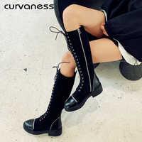 Curvaness 2019 mujeres sobre las botas de rodilla chica cabeza redonda sujetado mujeres botas de retazos frenilo cuadrado tacones botas gran venta