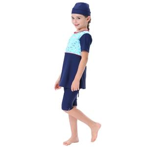 Image 5 - Meninas muçulmanas swimwears islâmicos crianças 3 pçs nadar shorts ternos de mergulho árabe islam beach wear natação bonés burkini para a menina