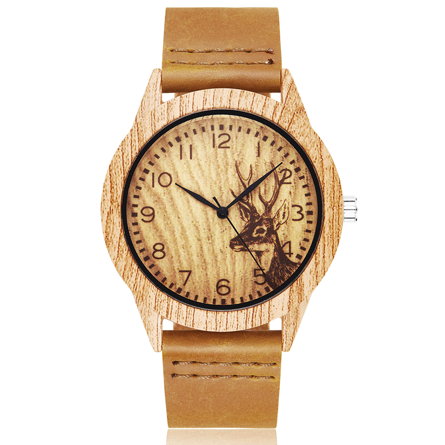 Couple Wristwatch Wooden Deer Men Women Clock Animal Brown Male Reloj Acrylic Case Imitation