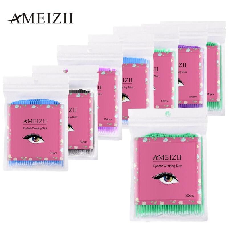 100 Pcs/pack Colorful Disposable Cotton Swabs Graft Eyelash Cotton Swabs Remover Eyelash Gel Microbrush TSLM1