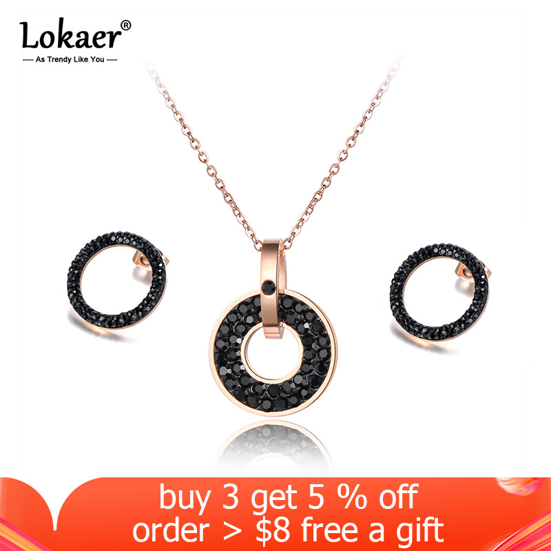 Lokaer Trendy White/Black CZ Rhinestone Necklace Earrings Sets Titanium Steel Rose Gold Color Wedding Jewelry For Women SE020