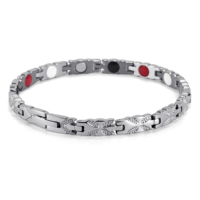 Rainso Fashion Stainless Steel Healing Magnetic 4 in 1 Bio Energy Bracelet For Female Accessory Silver Bracelets Women Jewelry