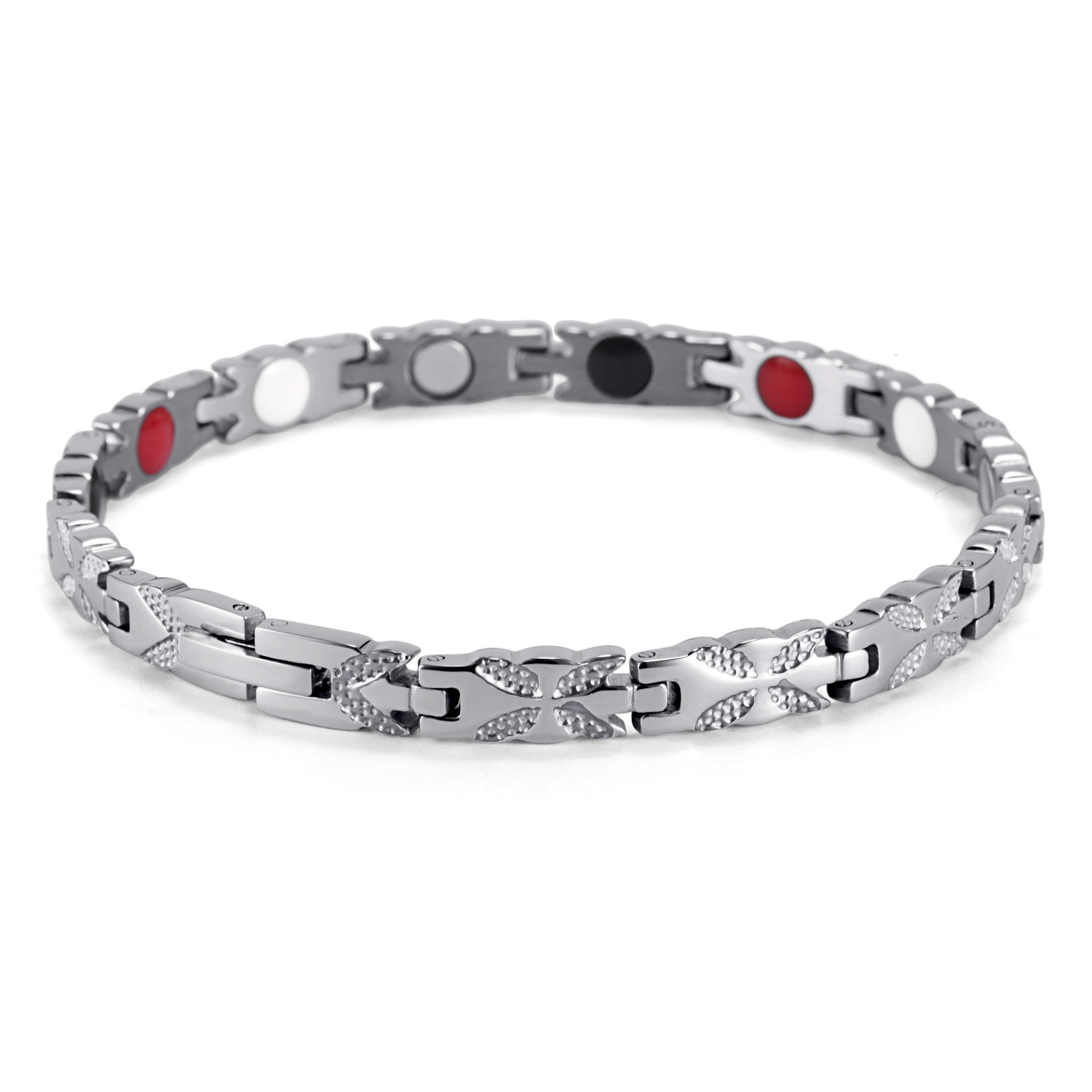Rainso mode acier inoxydable guérison magnétique 4 en 1 Bio énergie Bracelet pour femme accessoire argent Bracelets femmes bijoux