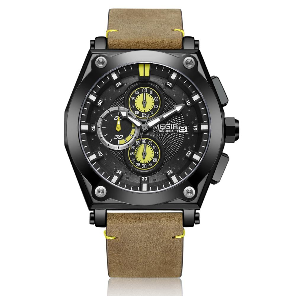 <font><b>MEGIR</b></font> Men watch Fashion large dial multi-function chronograph calendar leather men's watch 2098 image