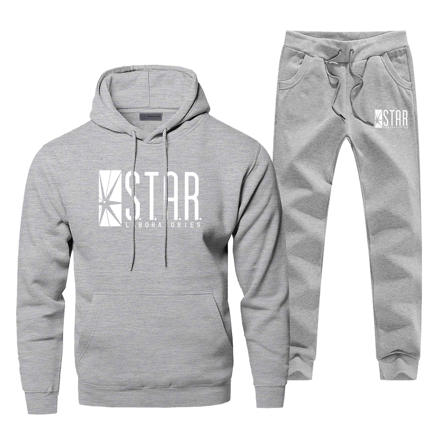 STAR S.T.A.R. Labs Print Fashion Men's Sportswear The Flash Super Hero Sweatpants Casual Fleece Sportsman Wear Hoodie Swearshirt