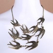 Преувеличенное ожерелье с подвеской в виде летающей ласточки, цепочка для свитера для девушек и женщин