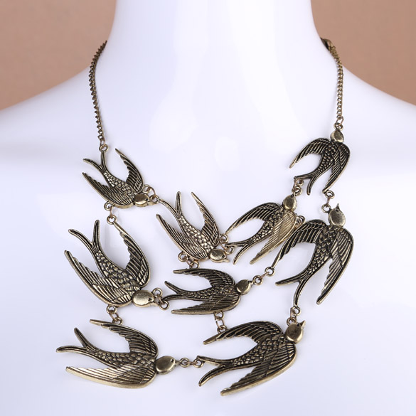 Exaggerate Flying Swallow Pendant Necklace Sweater Chain For Girl Woman