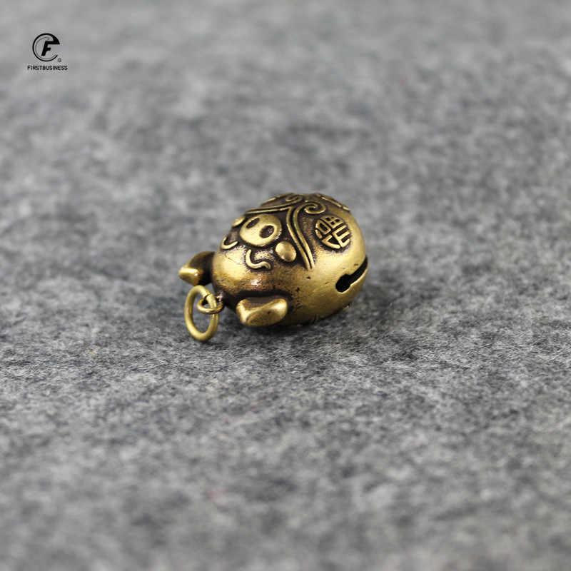 Kupfer Cute little pig Glocke Kleine Ornamente Schreibtisch Feng Shui Dekorationen Retro Messing Keychain Anhänger Home Decor für Wohnzimmer