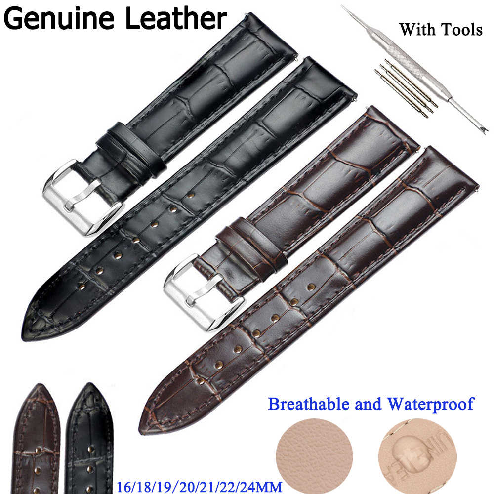 Kulit Asli Tali Jam Stainless Steel Gesper Butterfly Gesper Pria Watch Band 18 Mm 20 Mm 24 Mm Watchband Kulit tali D40