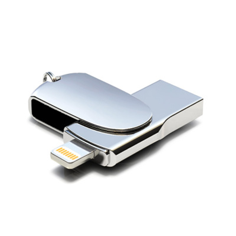 USB 2.0 Flash Drive 2in1 Phone Computer U-Disk Portable 32GB 64GB Memory Stick Flash Disk Compatible For IPhone IPad PC - Silver