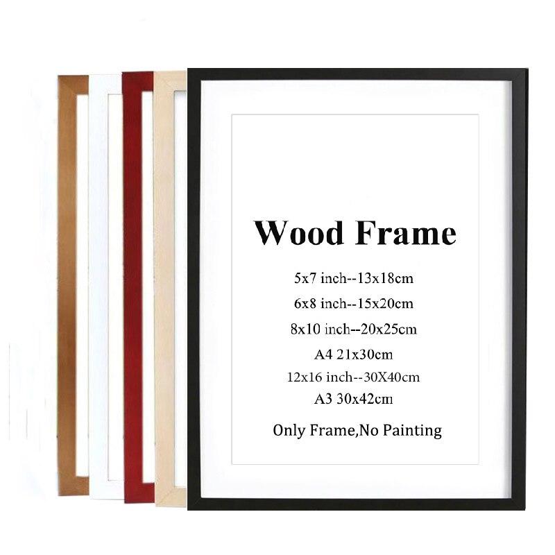 טבע מוצק עץ מסגרת A4 A3 שחור לבן אדום כחול צבע תמונה מסגרת תמונה עם מחצלות לקיר הרכבה חומרה כלול
