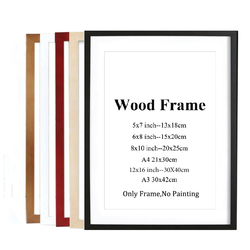 A4 A3 Black White Red Blue Color Nature Solid Wooden Frame Picture Photo Frame With Mats For Wall Mounting Hardware Included