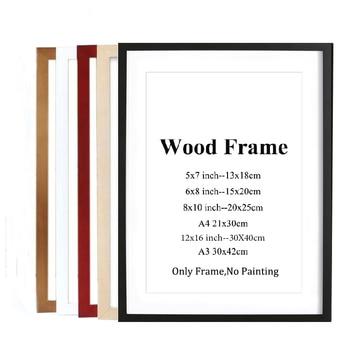 A4 A3 черный белый красный синий цвет Природа твердая деревянная рамка фото рамка с ковриками для настенного крепления оборудования в компле...