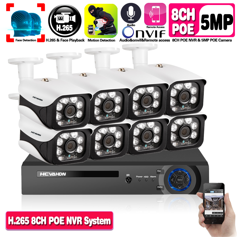 H.265 8CH 5MP <font><b>POE</b></font> Face Audio Record NVR Security <font><b>Camera</b></font> System Kit <font><b>IP</b></font> <font><b>Camera</b></font> <font><b>Outdoor</b></font> Waterproof CCTV Video Surveillance NVR <font><b>Set</b></font> image