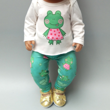 2019 new arrival doll clothes for 43cm Baby girl pants set green frog 18 inch spring