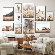 Modern Autumn Landscape Poster Home Decor Nordic Canvas Painting Grass Flower Animal Scenery Picture Wall Art Print for Bedroom