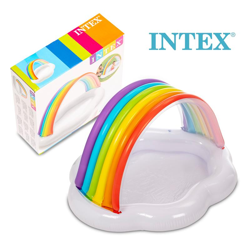 Inflatable Rainbow Cloud Sunshade PVC Water Mattress Bed For Baby Party Toys Toddler  Pool