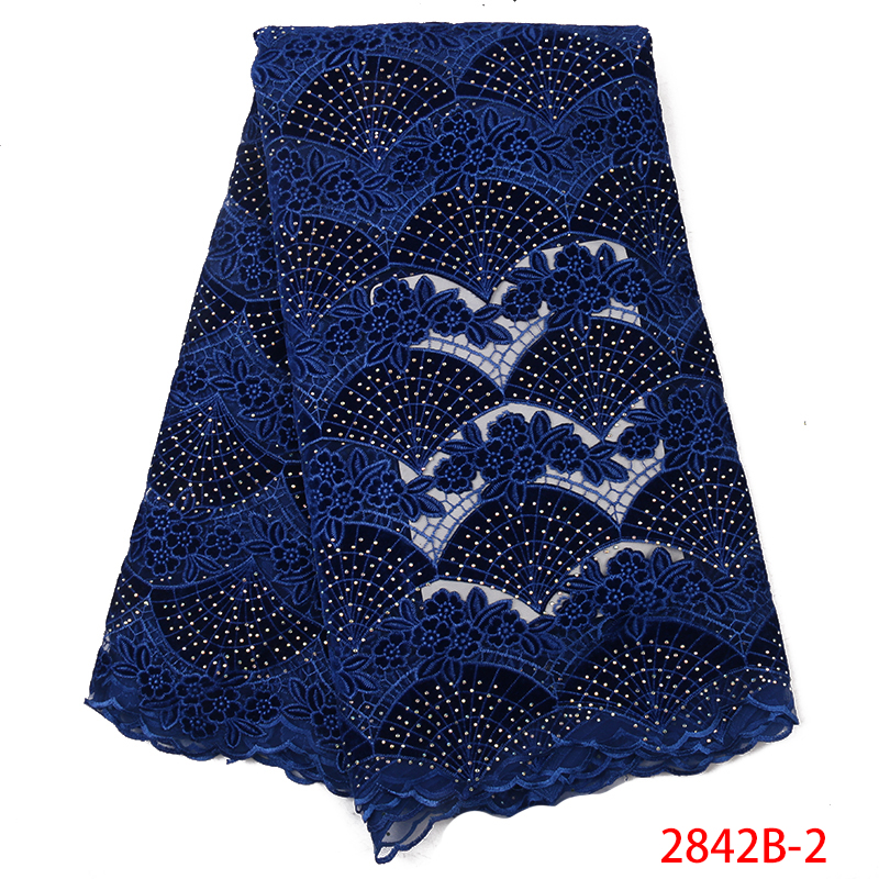 Royal Blue High Quality Velvet Lace Nigerian Laces Fabric African Fabric Lace French Fabric With Stones KS2842B