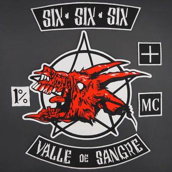 Six.six.six Valle de Sangre Large Embroidery Punk Biker Patches Clothes Stickers Apparel Accessories Badge image