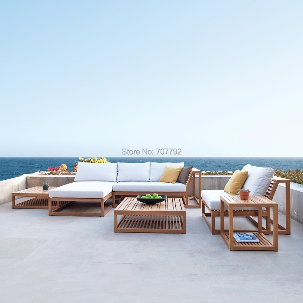 Luxury outdoor sectional teak sofas leisure patio garden lounge