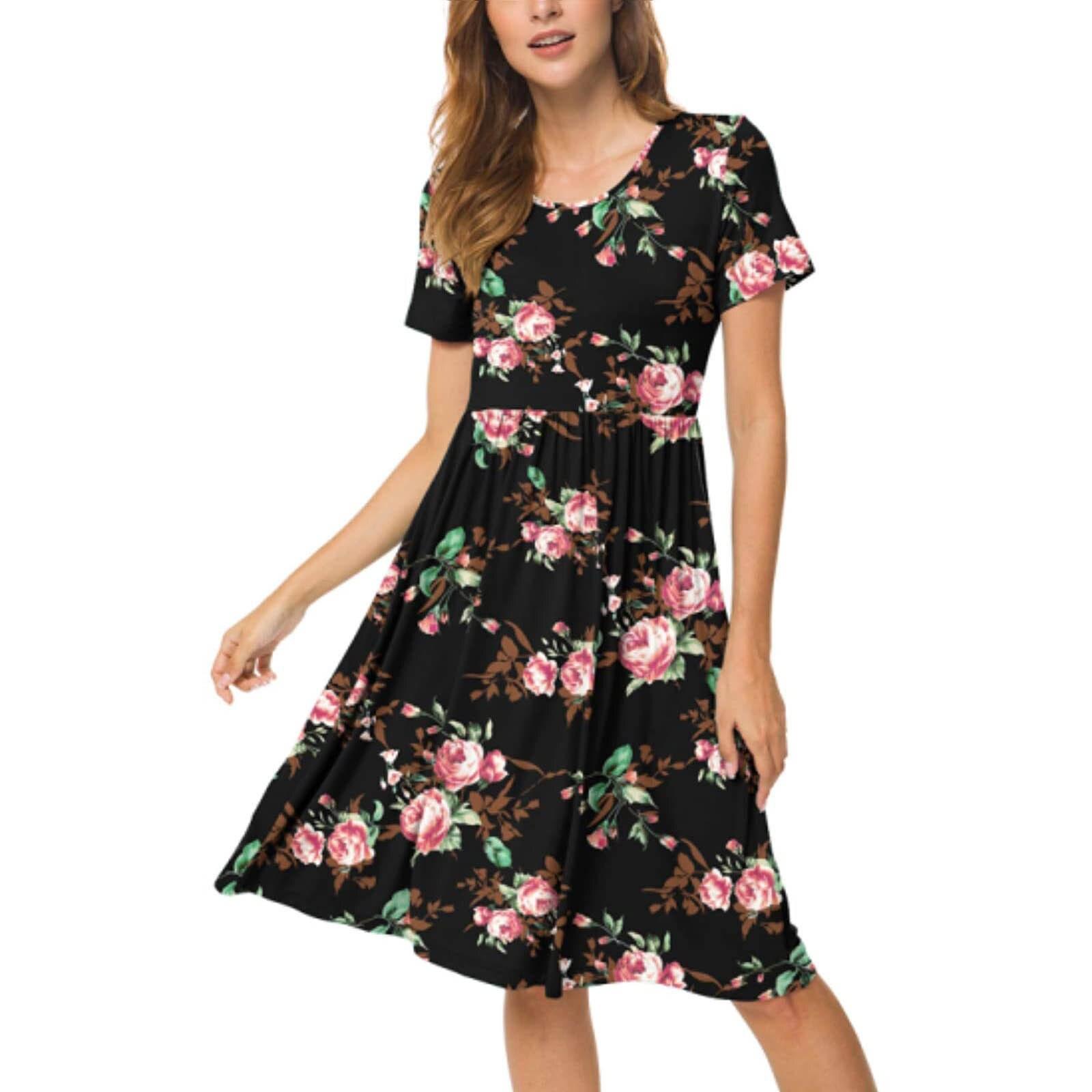 Women Summer Casual Short Sleeve Dresses Empire Waist Dress with Pockets 5