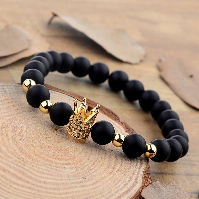 Трендовый черный матовый камень pave cz Корона браслет для мужчин