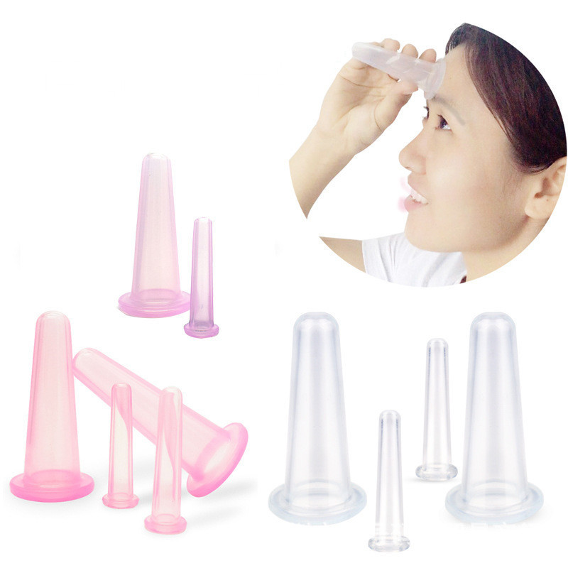 4 Pcs Massage Vacuum Cupping Set Silicone Face Cuping  Therapy Cup Anti Cellulite Body Massage Health Care