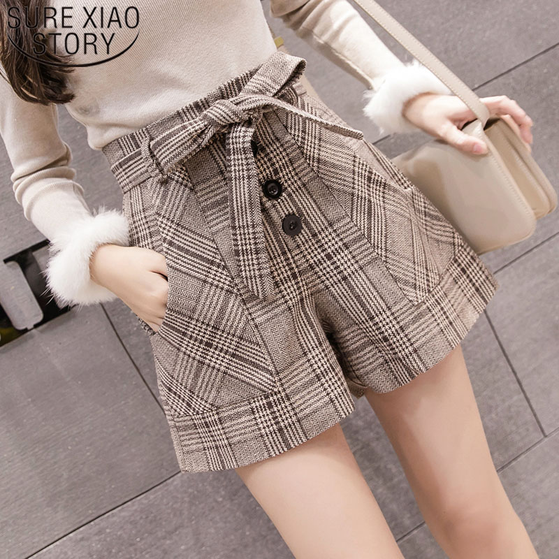 2019 Autumn Winter Fashion Women Short Pants High Waist Women Shorts Casual Lattice Bow Button Shorts Women Grey Khaki 6305 50