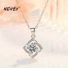 NEHZY – collier en argent Sterling 925 pour femme, pendentif trèfle à fleurs en Zircon cristal de haute qualité, longueur 45CM, nouvelle collection