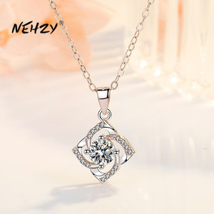 NEHZY 925 Sterling Silver New Woman Fashion Jewelry High Quality Crystal Zircon Flower Clover Pendant Necklace Length 45CM