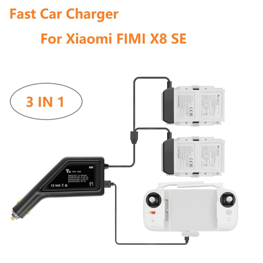 For Xiaomi FIMI X8 SE 3 In1 Car Charger Adapter Battery Controller Charger Fast Battery Charging Hub Car Charger For FIMI X8 SE