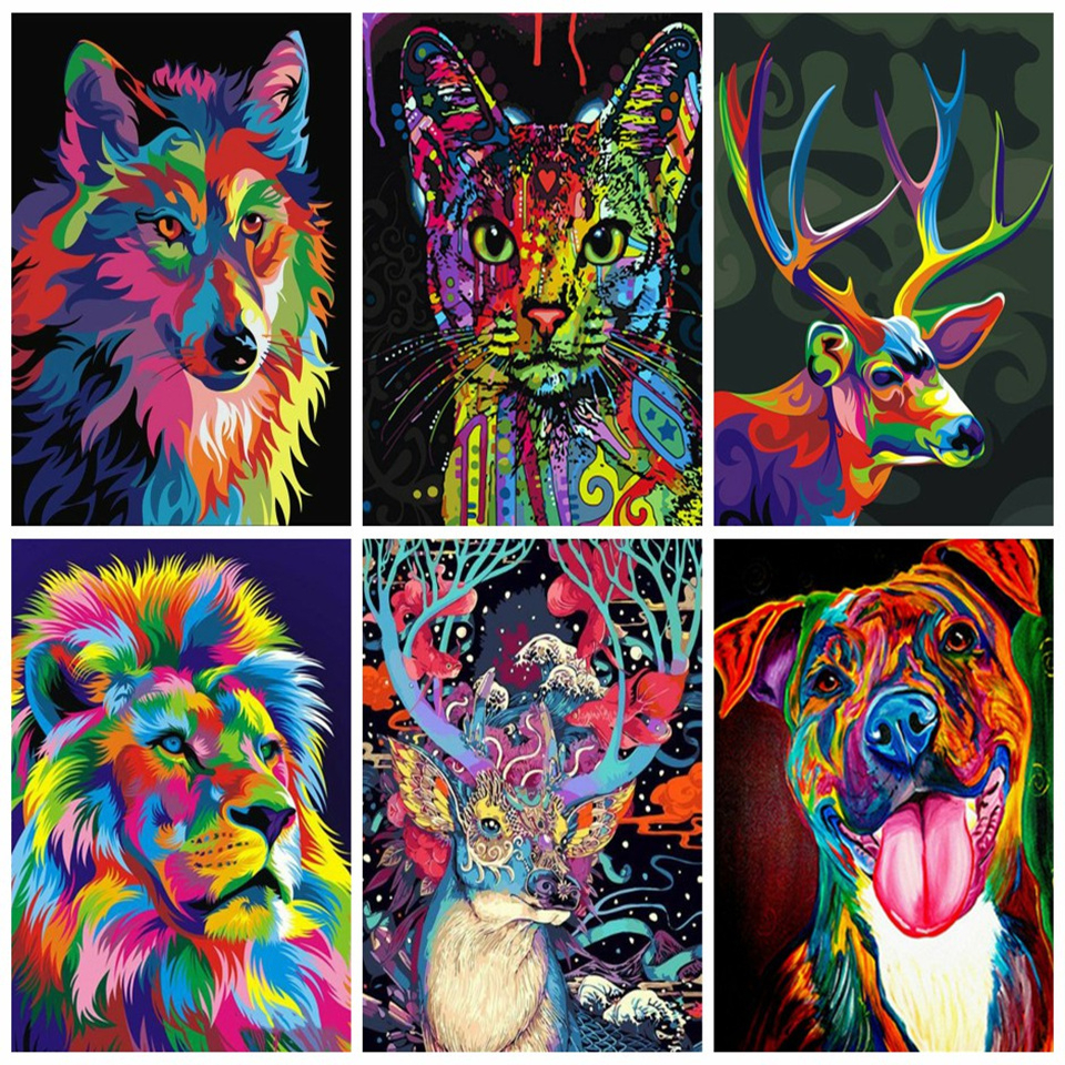 AZQSD Pictures Oil Painting By Numbers Animals Handmade Gift Coloring By Number Canvas Painting Full Kits 40x50cm