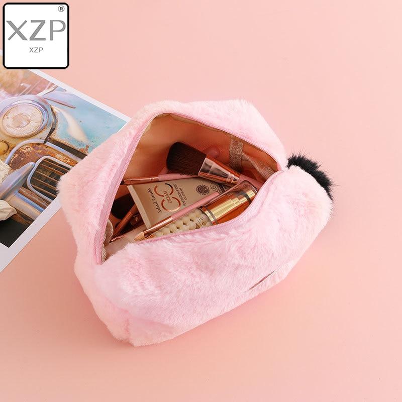 XZP Soft Fur Cosmetic Bag Large Capacity Storage Bag Travel Multi-function Girl Plush Cosmetic Bag Fur Ball Decoration Zipper