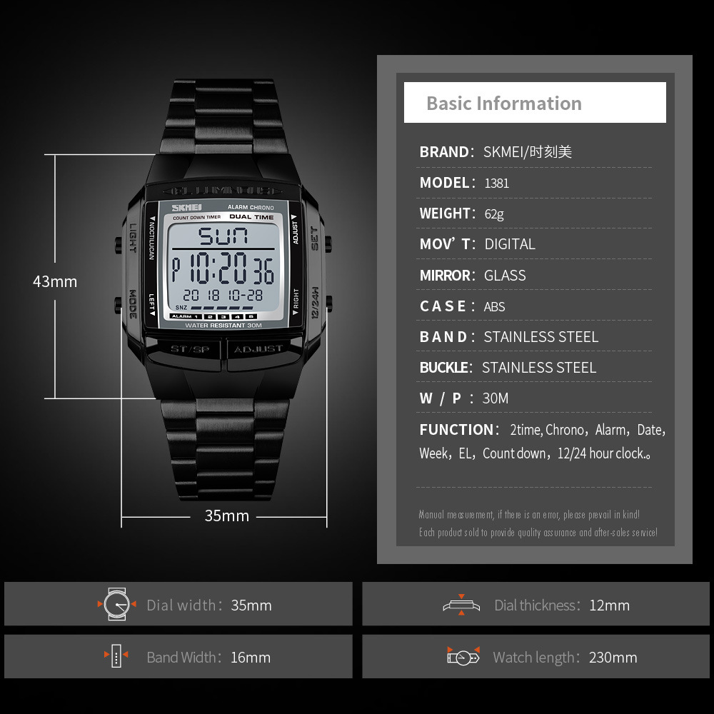 SKMEI СВЕТОДИОДНЫЕ цифровые часы для мужчин модные водонепроницаемые 3 будильника обратного отсчета из нержавеющей стали Мужские часы мужски... - 6