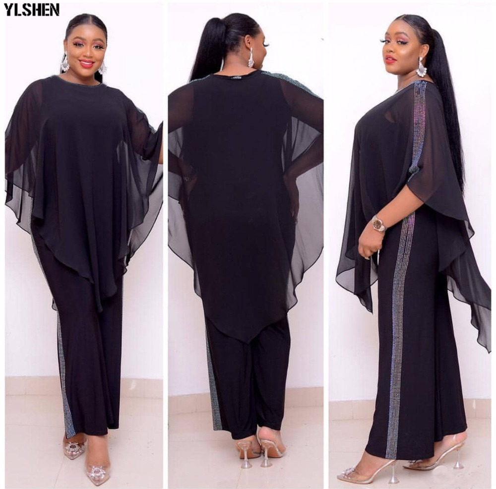 African Jumpsuit Set Dresses For Women Sequined African Clothes New Dashiki Elastic Bazin Baggy Pants Cloak Famous Suit For Lady 04