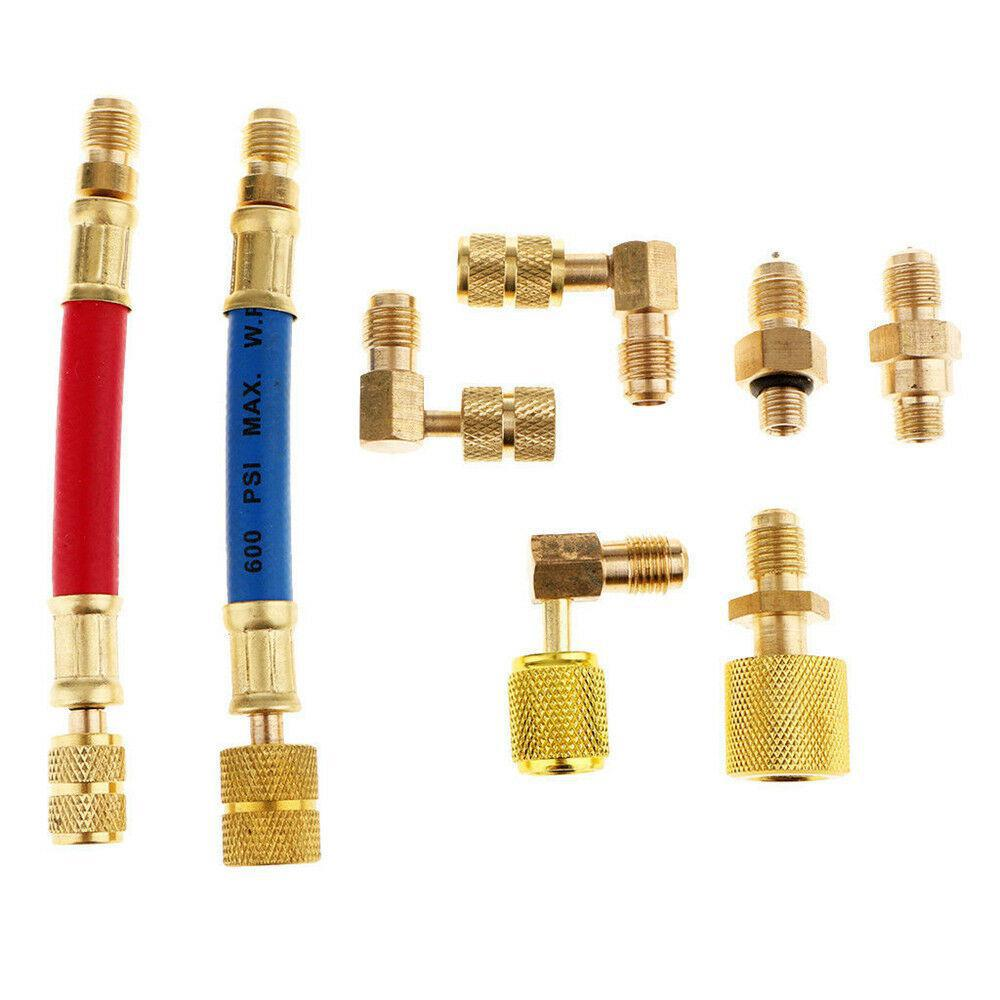 Car A//C Air Conditioner Refrigeration R134A R12 Converting Adapter Hose Set Kit