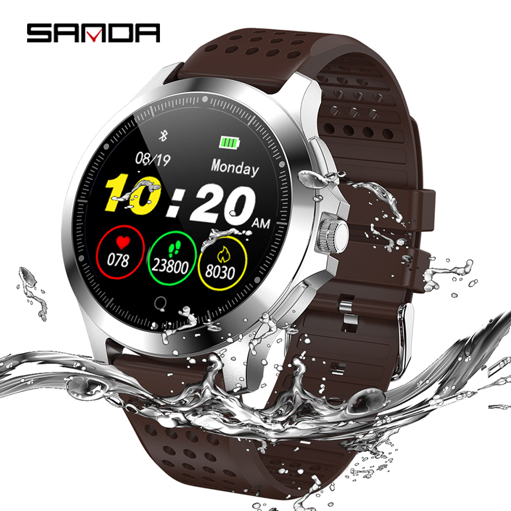 SANDA Leather Smart bracelet heart rate and blood pressure monitoring ECG multi functional reminder IP67 Waterproof sports watch|Smart Watches| |  - title=
