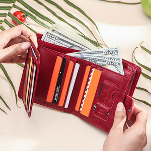 Image 3 - Contacts Genuine Leather Wallets Women Men Wallet Short Small Rfid Card Holder Wallets Ladies Red Coin Purse Portfel Damski