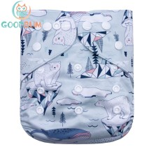 Goodbum Washable Adjustable Little Fox Printed Cloth Diaper Double Row Snaps Cloth Nappy For Baby