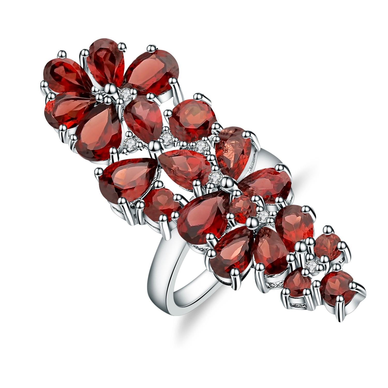 GEM'S BALLET 10.56Ct naturel rouge grenat bague en pierres précieuses 925 en argent Sterling bagues de Cocktail pour les femmes de mariage bijoux fins