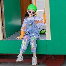 Kids Girls Cartoon Overalls 10 12 years Jeans Spring Autumn Fashion Casual Teenage Girls Pants