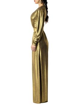Adogirl Elegant Glitter Wide Leg Pants Jumpsuit Women Sexy Deep V Neck Long Sleeve Ruched with Pockets Party Romper Club Outfits 4