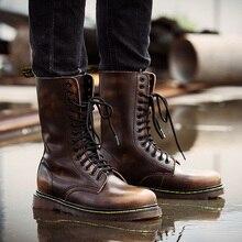 Популярные мотоциклетные ботинки для влюбленных; Размеры 35-46; мужские зимние армейские ботинки с высоким берцем; мужские кожаные повседневные Роскошные армейские ботинки