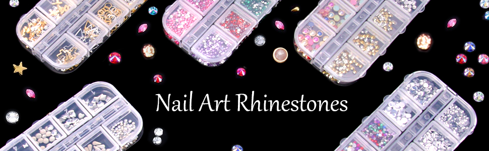 Nail Rhinestones 12 Boxes Multi-shape Rhinestones for Nails High Heels Brooch Hat mobile Phone Shell Glasses Clothes Decoration