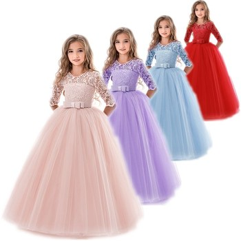 Kids Flower Girls Wedding Dress For Girl Party Dresses Lace Princess Summer Teenage Children Princess Dress 8 10 12 14 Years