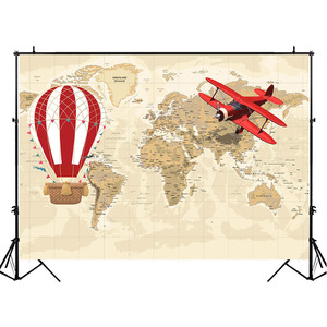 Image 3 - Mocsickaベビーシャワー背景世界地図冒険背景飛行機誕生日パーティーバナー装飾