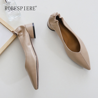 ROBESPIERE Brand Women Pumps 3.5CM Round Heels Deep V Pumps Soft Pleated Sheepskin Ladies Dress Shoes Pointed Toe Pumps A125