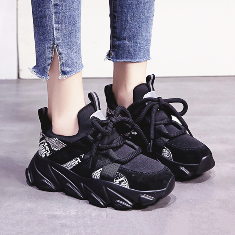 Women Sneakers Winter Plush Warm Dark Gothic Style Young Thick Bottom Ladies Shoes Serpentine Black Chunky Platform Sneakers