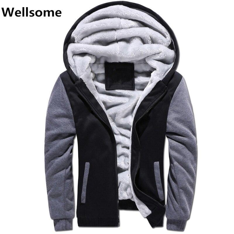Зимняя утепленная толстовка Для мужчин s спортивные костюмы мужские толстовки с капюшоном зимний толстый теплый флис Для мужчин толстовки ...