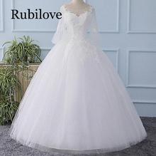 Rubilove 2019 new word shoulder sleeve Korean dress bride order Qi large size pregnant women was thin high quality elegant